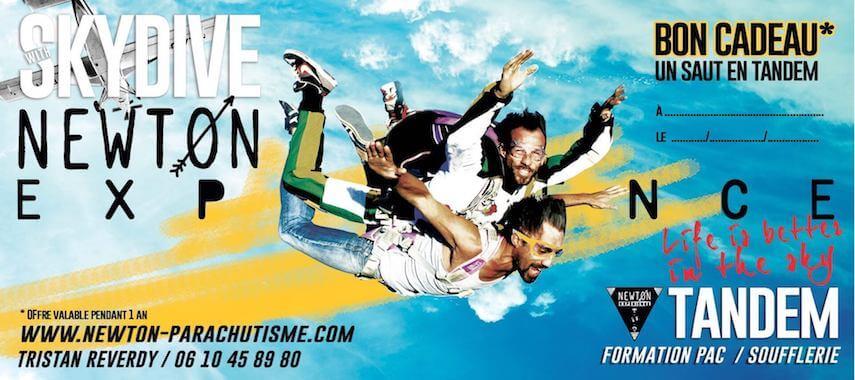 Bon cadeau pour un saut en parachute avec l'ecole de chute libre Newton Experience